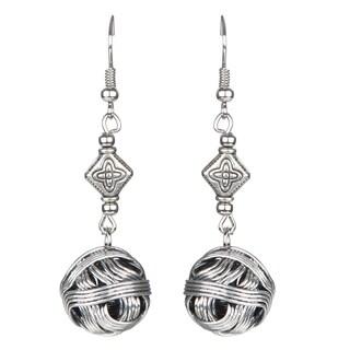 Silver Round Woven Ball Dangle Earrings