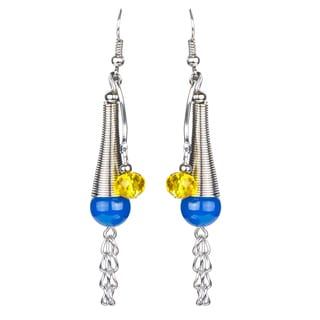 Blue And Yellow Tribal Dangle Earrings