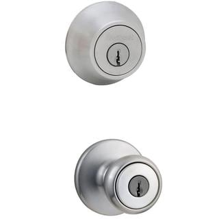 Kwikset Tylo Satin Chrome Entry Knob and Double Cylinder Deadbolt Combo Pack