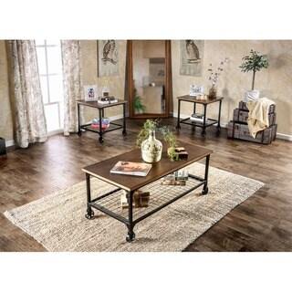 Furniture of America Dainton Industrial Medium Oak 3-piece Accent Table Set