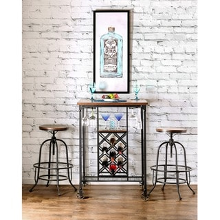 Furniture of America Daimon Industrial Wine Rack Bar Height Dining Table