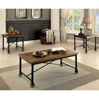 Furniture of America Daimon Industrial Medium Oak 3-piece Accent Table Set