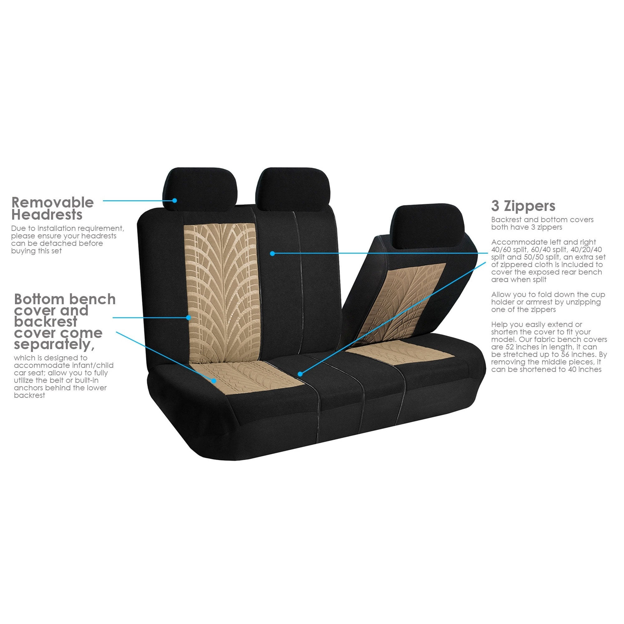 Pleasant Fh Group Fabric Seat Covers 40 60 50 50 Interior Caraccident5 Cool Chair Designs And Ideas Caraccident5Info