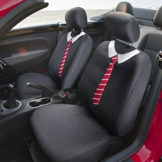 FH Group Black Bowtie Flat Cloth Bucket Seat Covers Tie (Set of 2)
