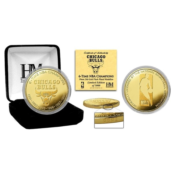 """Chicago Bulls """"6-time NBA Champions"""" Gold Mint Coin"""