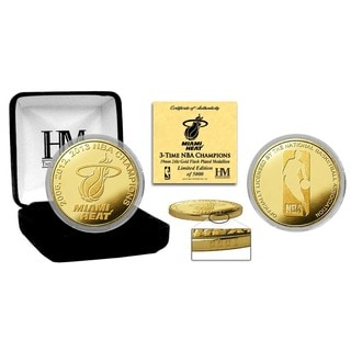 """Miami Heat """"3-time NBA Champs"""" Gold Mint Coin"""