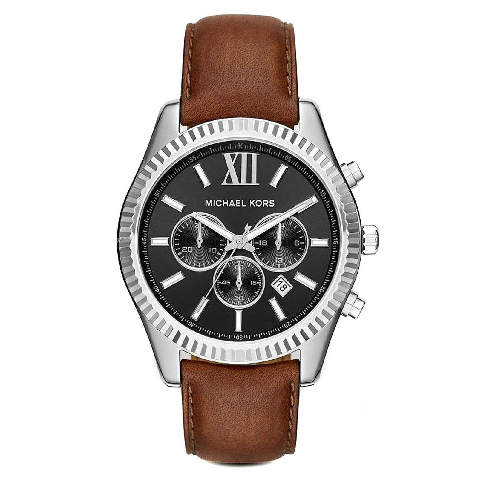 Michael Kors Mens MK8456 Lexington Chronograph Black Dial Brown Leather Watch MK8456