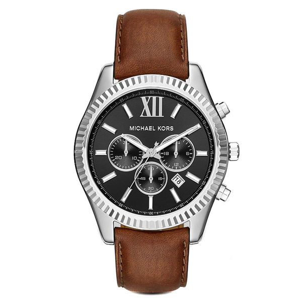 4acbef42ef34 Shop Michael Kors Men s MK8456 Lexington Chronograph Black Dial Brown  Leather Watch - Free Shipping Today - Overstock - 10790784