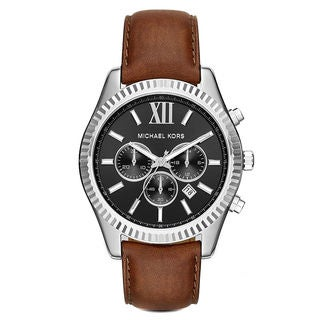 Michael Kors Men's MK8456 Lexington Chronograph Black Dial Brown Leather Watch