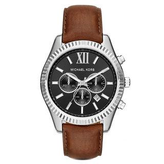 Michael Kors Men's MK8456 Lexington Chronograph Black Dial Brown Leather Watch