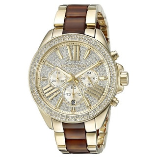 Michael Kors Women's MK6294 Wren Chronograph Crystal Pave Gold-Tone Dial Two-Tone Bracelet Watch