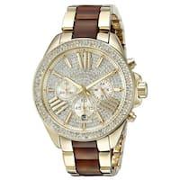 Michael Kors Women's MK6294 Wren Chronograph Crystal Pave Gold-Tone Dial Two-Tone Bracelet Watch