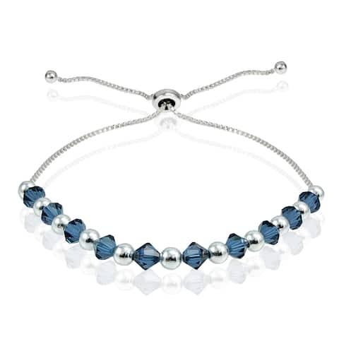 Crystal Ice Sterling Silver Swarovski Elements Adjustable Slider Bracelet