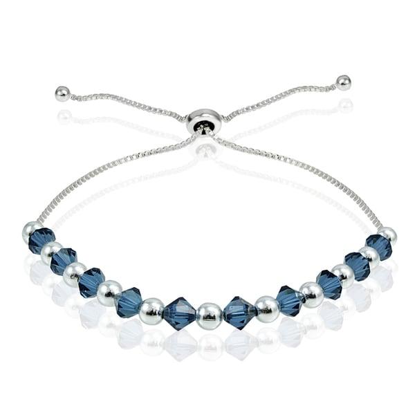 Crystal Ice Sterling Silver Swarovski Elements Adjustable Slider Bracelet. Opens flyout.