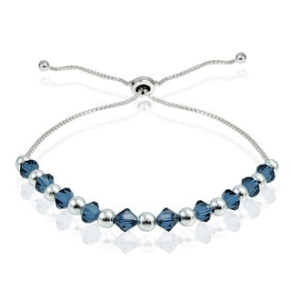 Crystal Ice Sterling Silver Swarovski Elements Adjustable Bolo Bracelet