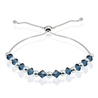 Crystal Ice Sterling Silver Swarovski Elements Adjustable Slider Bracelet