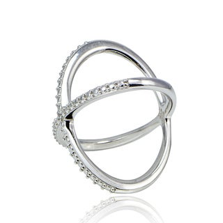 DB Designs Diamond Accent Criss-cross 'X' Ring