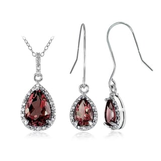 Glitzy Rocks Sterling Silver 6 2/5ct Garnet and Diamond Accent Teardrop Pendant Earrings Set