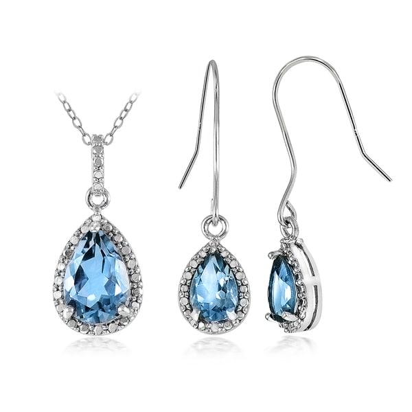 Glitzy Rocks Sterling Silver 6 3/4ct Blue Topaz and Diamond Accent Teardrop Pendant Earrings Set