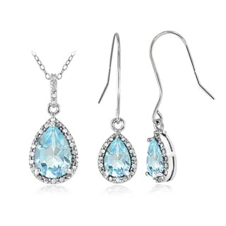 Glitzy Rocks Sterling Silver 6 3/4ct Blue Topaz and Diamond Accent Teardrop Pendant Earrings Set