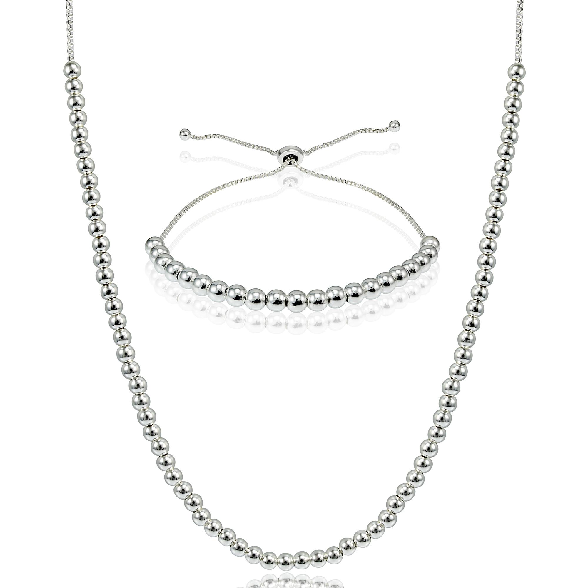 Mondevio Sterling Silver Bead Adjustable Slider Bracelet ...