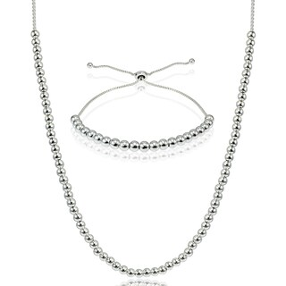 Mondevio Sterling Silver Bead Pull-string Slider Adjustable Bolo Bracelet and/or Necklace