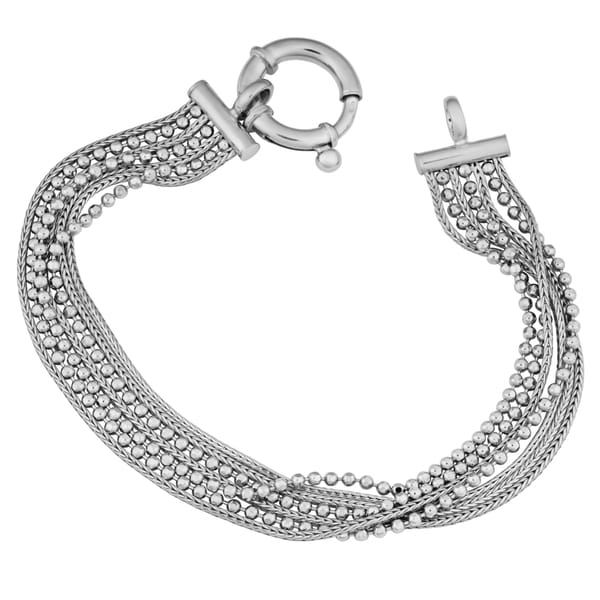 Argento Italia Sterling Silver Alternate 7-row Multi Strand Bracelet (7.5 inches)