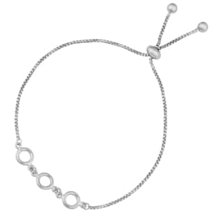 Argento Italia Sterling Silver Circles Adjustable Length Slide Bracelet (8.5 inches)