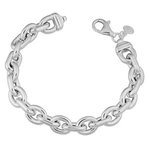 Argento Italia Sterling Silver Oval Link Bracelet (7.75 inches)