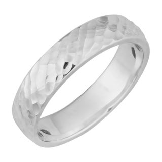 Argento Italia Sterling Silver Hammered Band Ring (size 7)