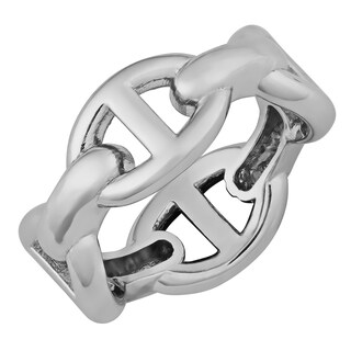 Argento Italia Sterling Silver Mriner Link Style Ring (size 5)