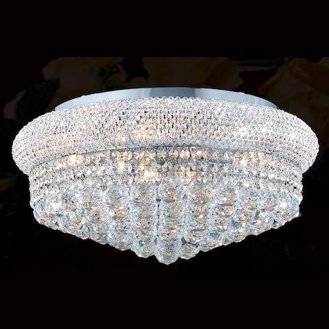 French Empire 10 light 20 inch Chrome Finish Crystal Ceiling Flush Mount Large - Large Flush Mount - Large Flush Mount