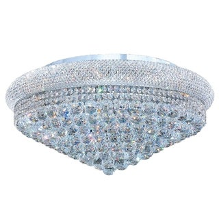 "French Empire 15 Light Chrome Finish and Clear Crystal Ceiling Flush Mount 28"" Wide Extra Large"