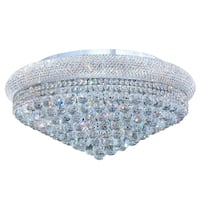 """French Empire 15 Light Chrome Finish and Clear Crystal Ceiling Flush Mount 28"""" Wide Extra Large"""