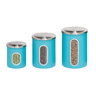 Honey-Can-Do 3pk metal storage canisters, blue
