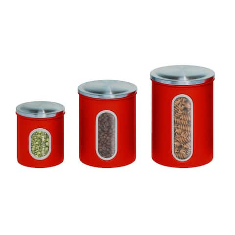 Honey-Can-Do 3pk metal storage canisters, red