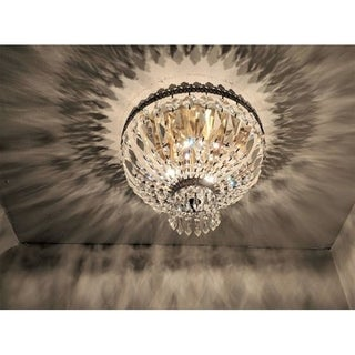 Metro Candelabra 3-light Antique Bronze Finish and Clear Crystal 12-inch Wide Small Ceiling Flush Mount