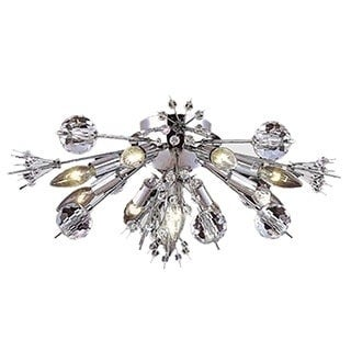 "Modern Starburst 10 light Chrome Finish and Clear Crystal Sputnik Ceiling Flush Mount 20"" Wide Large"