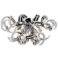 Metro Candelabra 12-light Chrome Finish and Clear Crystal 22-inch Wide Large Ceiling Flush Mount