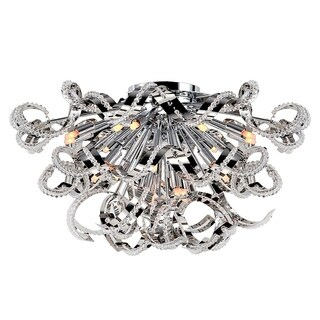 Metro Candelabra 19-light Chrome Finish and Clear Crystal 26-inch Wide Extra Large Ceiling Flush Mount