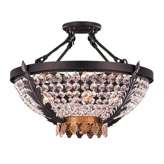 Metro Candelabra 4-light Matte Black & Gold Finish and Clear Crystal 20-inch Wide Large Ceiling Semi-flush Mount Light