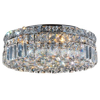 """Contemporary 16"""" Round Shape 5 Light Chrome Canopy and Cluster of Crystal Balls Ceiling Flush Mount Medium"""