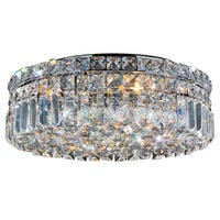 Glam Art Deco Style 16-inch Round Shape 5-light Chrome Canopy and Cluster of Crystal Balls Ceiling Flush Mount Medium