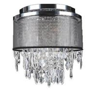 Metro Candelabra 4-light Chrome Finish Crystal Icicles 12-inch Wide Small Ceiling Flush Mount with Black Organza Shade