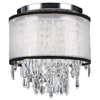 Metro Candelabra 4 Light Chrome Finish Crystal Icicles 12-inch Wide Small Ceiling Flush Mount with White Organza Shade