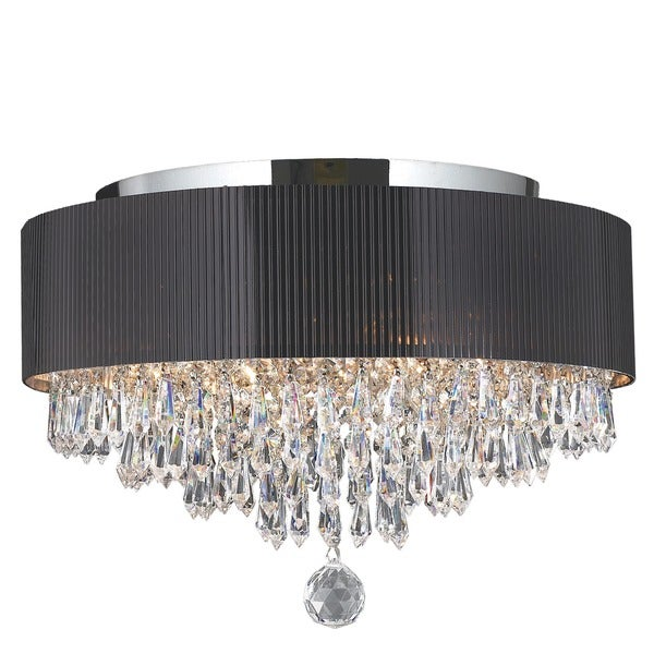 modern elegance 4 light chrome finish crystal ceiling flush mount with