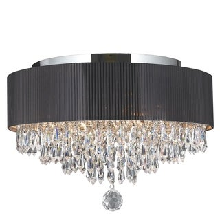 "Modern Elegance 4 Light Chrome Finish Crystal Ceiling Flush Mount with Black Acrylic Drum Shade 16"" Medium"