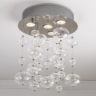 """Contemporary 4 Light Chrome Finish and Clear Blown Glass Bubble Ceiling Flush Mount 12"""" Wide Small"""