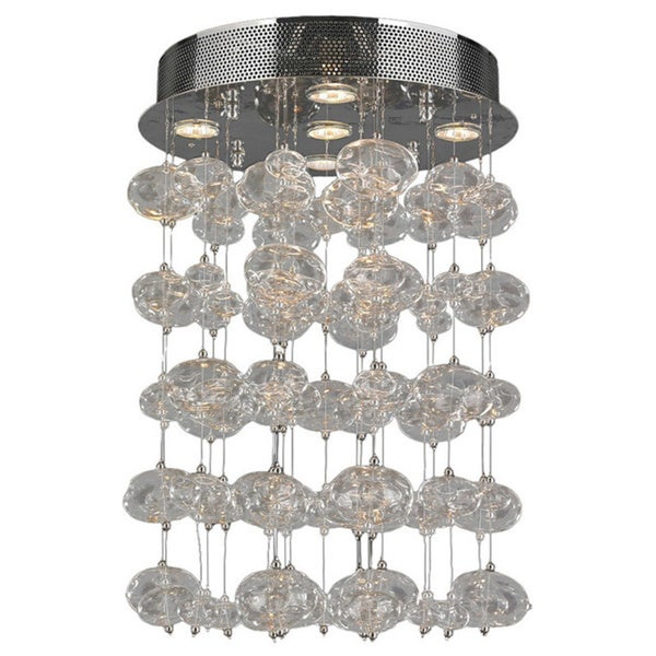 Floating Bubbles 5-light Chrome Finish and Clear Blown Glass Bubble Ceiling Flush Mount 16-inch Wide Medium
