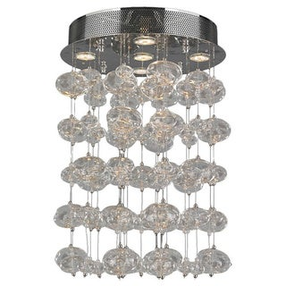 """Contemporary 5 light Chrome Finish and Clear Blown Glass Bubble Ceiling Flush Mount 16"""" Wide Medium"""